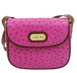 Zella Ash -Christina Pink Ostrich Leather  Cross-body Bag