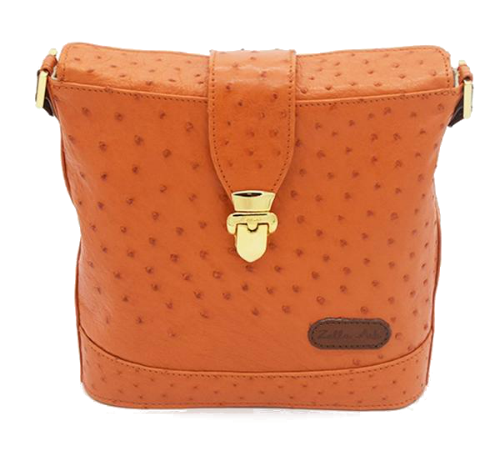 Zella Ash Sonya Orange Ostrich Leather Envelope Cross-body Bag