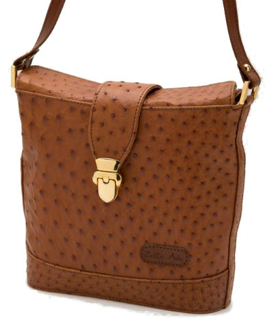 Zella Ash Suze Brown Ostrich Leather Envelope Cross-body Bag
