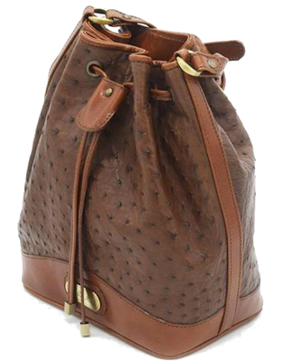 Zella Ash - The Vero, Brown Ostrich Leather Bucket shoulder Bag