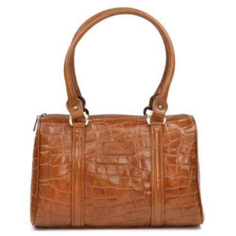 Zella Ash - Brenda Tan Brown Croc Embossed Leather Shoulder Bag