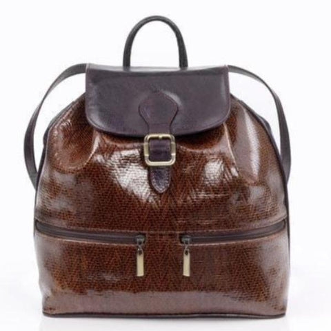 Zella Ash - Divya, Snake Skin Embossed Brown Genuine Leather Backpack