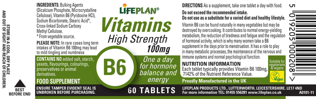High Strength Vitamin B6 100mg 60 Caps