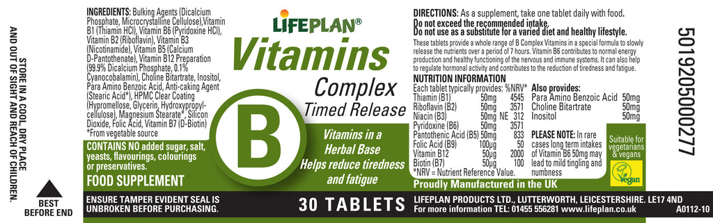Vitamin B Complex Time Release 30 tabs