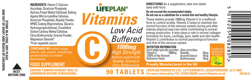 Vitamin C (Buffered) 1000mg 90 tablets