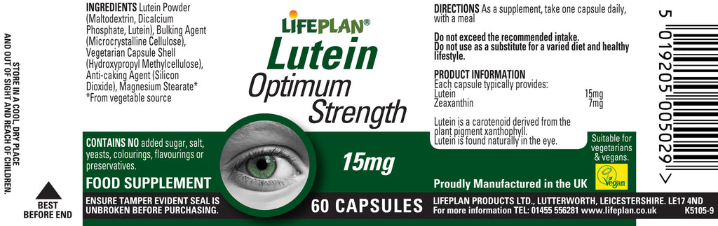 Lutein 15mg 60 Capsules