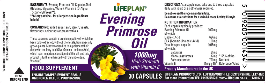 Evening Primrose Oil 1000mg 30 caps