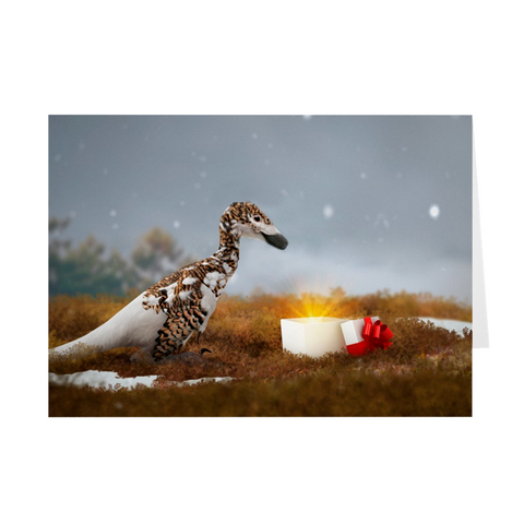 Raptor Dinosaur holiday greeting card