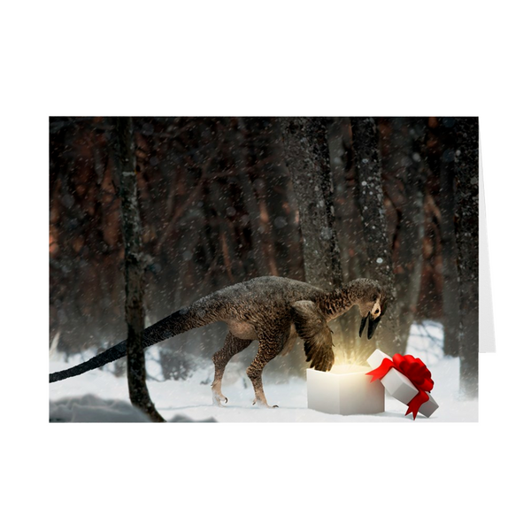 Troodon holiday greeting card