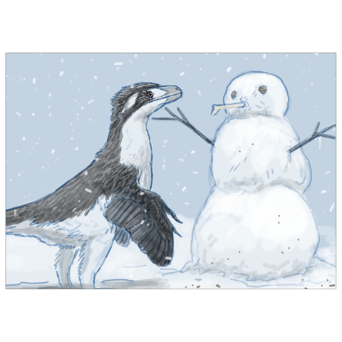 Dromaeosaurus dinosaur holiday greeting card