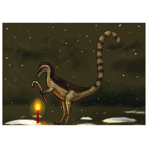 Sinosauropteryx dinosaur holiday greeting card
