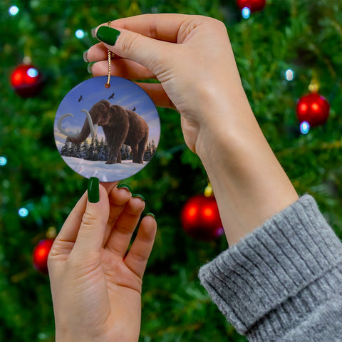Woolly Mammoth round ceramic ornament