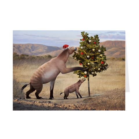Chalicotherium holiday greeting card
