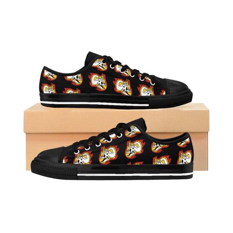 Torosaurus Flaming Dinosaur Skull Women's Sneakers
