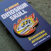 Deinonychus Flaming Dinosaur Skull Enamel Pin
