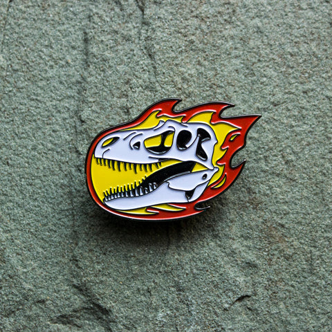 Gorgosaurus Flaming Dinosaur Skull Enamel Pin