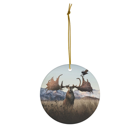 Megaloceros round ceramic ornament
