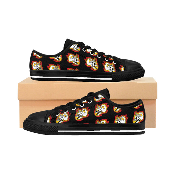 Torosaurus Flaming Dinosaur Skull Men's Sneakers