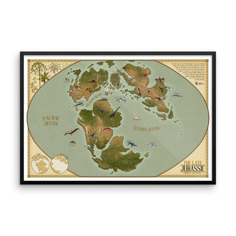 Late Jurassic Map framed print