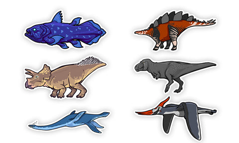 Prehistoric animal stickers