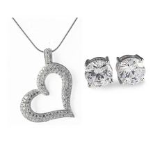 Load image into Gallery viewer, Gifts for her, gift set, necklace, earrings, heart, pendant, diamond, stud, earrings, jewellery,