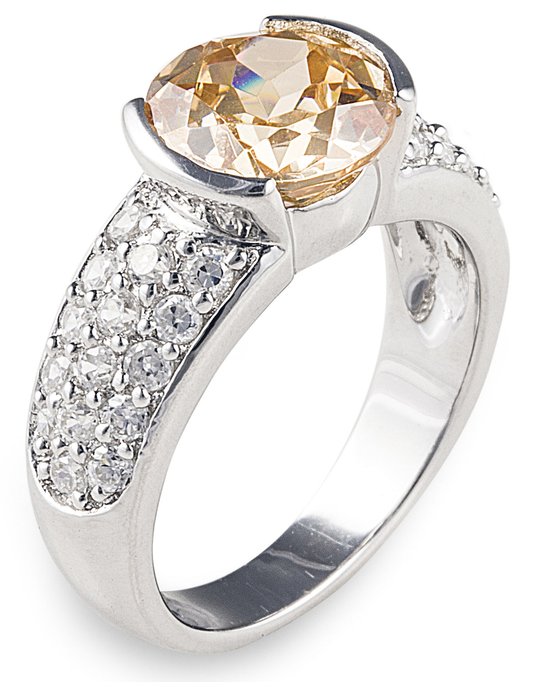 designer, bling, diamonds, pave, cubic zirconia, amber, champagne, wedding, engagement, sunset engagement ring,