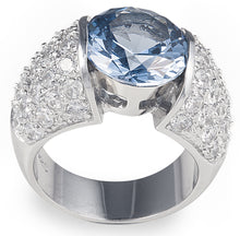 Load image into Gallery viewer, designer, bling, diamonds, pave, cubic zirconia, topaz, aquamarine, wedding, engagement, deep ocean ring,