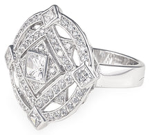 Charger l'image dans la galerie, designer, retro, bling, diamonds, cubic zirconia, wedding, engagement, gatsby ring,