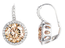 Load image into Gallery viewer, designer, tiffany, bling, silver, diamonds, 925, earring, jewellery, drop, champagne, empire earrings,
