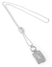 Load image into Gallery viewer, Designer, silver, bling, 925, jewellery, diamonds, necklace, belcher, pendant, Tiffany, chanel, rectangle, coco rouge long necklace,
