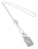 Designer, silver, bling, 925, jewellery, diamonds, necklace, belcher, pendant, Tiffany, chanel, rectangle, coco rouge long necklace,