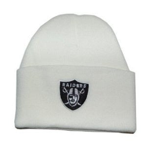 Oakland Raiders NFL Long Beanie Knit Cap Hat WHITE