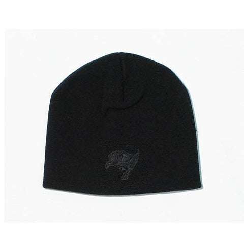 Black on Black Tonal Skull Cap - NFL Knit Toque Cuffless Beanie Hat