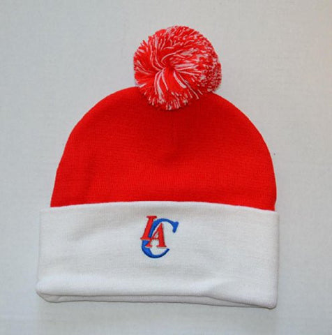 Adidas Los Angeles Clippers White Cuff Beanie Hat with Pom - NBA Knit Cuffed Toque Cap