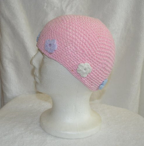 Pink Knit Hat with Flowers - Crochet Beanie Skull Cap