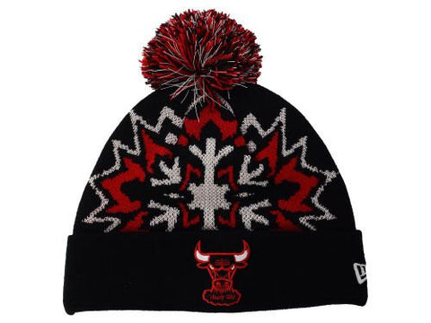 "Chicago Bulls""Glowflake"" Beanie Hat with Pom - NBA Glow in Dark Cuffed Winter Knit Toque Cap"