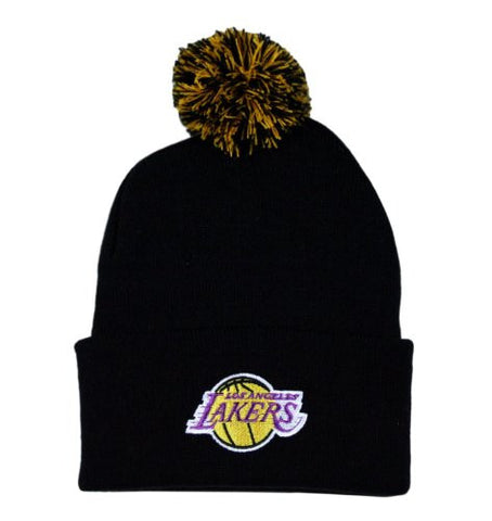 Los Angeles Lakers Solid Black Beanie Hat with Pom - NBA Adidas Cuffed Knit Cap