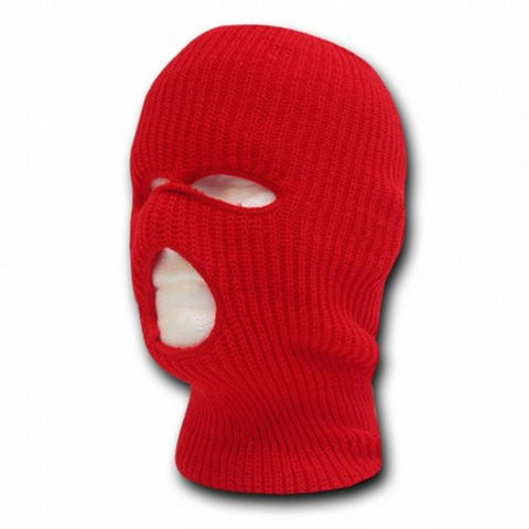 RED TACTICAL MASK SKI CAP FACE PROTECTOR 3 THREE HOLE