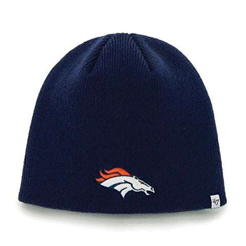 Denver Broncos Navy Blue Skull Cap - NFL Cuffless Knit Toque Beanie