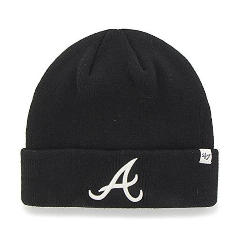 Atlanta Braves Black Cuff Beanie Hat - MLB Cuffed Winter Knit Toque Cap