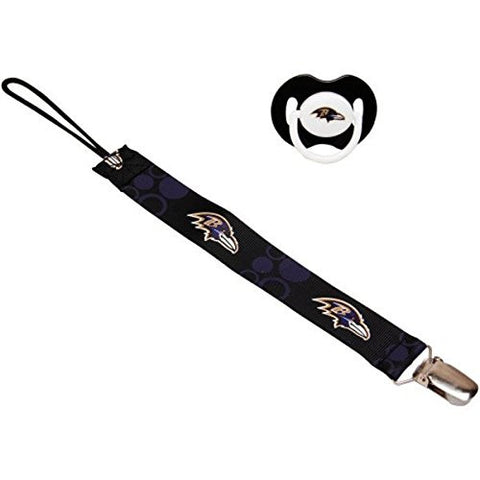 Baltimore Ravens Black Infant Pacifier and Pacifier Clip - NFL Baby Fanatic Combo Set