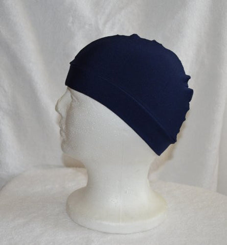 Navy Blue Dome Hat - Spandex Wave Builder Du-rag Cap