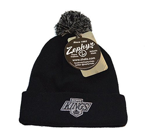Los Angeles Kings Black Zephyr Beanie Hat with Pom - NHL LA Cuffed Winter Knit Toque Cap