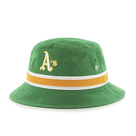 47 Brand Green Striped Bucket Hat - MLB A's Gilligan Fishing Cap (Oakland Athletics)