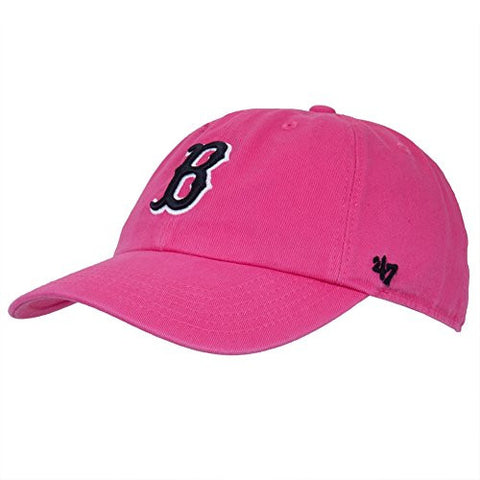 "Boston Red Sox Magenta ""Clean Up"" Women's Adjustable Cap - Ladies MLB Relaxed Fit Baseball Hat"