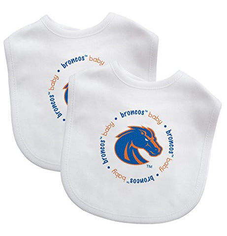 Boise State Broncos BSU NCAA Licensed 2 pack of White Baby Bibs w Bronco Logo