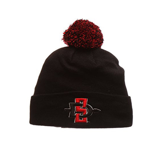 San Diego State Aztecs Black Cuff Beanie Hat with Pom POM - NCAA SDSU  Cuffed Winter 615944ab9457