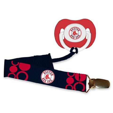 Boston Red Sox Red Pacifier and Pacifier Clip - 2014 MLB Baby Fanatic Combo Set