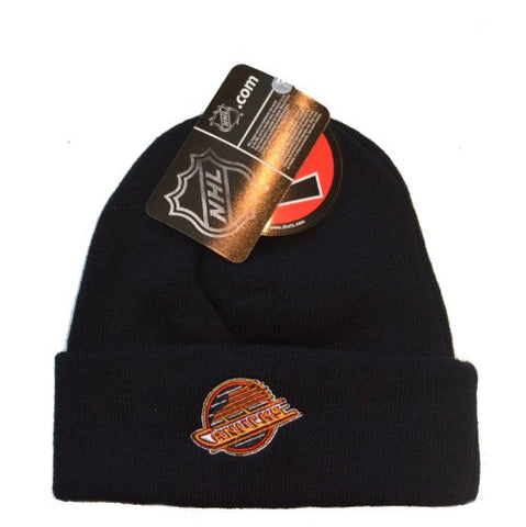 Vancouver Canucks Black Zephyr Beanie Hat - NHL Cuffed Winter Knit Toque Cap