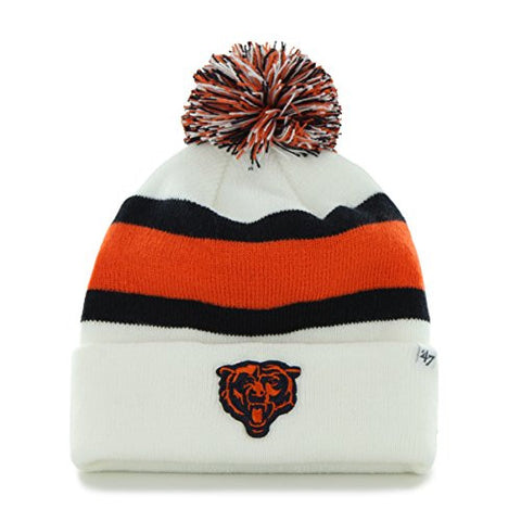 "Chicago Bears White Cuff ""Breakaway"" Beanie Hat with Pom - NFL Cuffed Winter Knit Toque Cap"